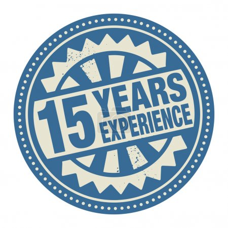 Abstract stamp or label with the text 15 years experience writte