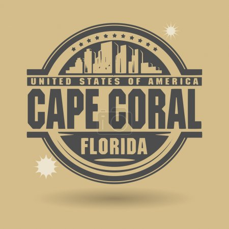 Illustration for Stamp or label with text Cape Coral, Florida inside, vector illustration - Royalty Free Image