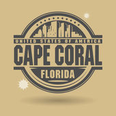 Stamp or label with text Cape Coral Florida inside