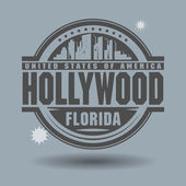 Stamp or label with text Hollywood, Florida inside