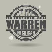 Stamp or label with text Warren Michigan inside vector illustration