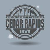 Stamp or label with text Cedar Rapids Iowa inside