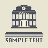 School building icon or sign