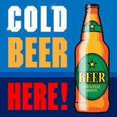 Abstraktní popisek s pivní láhve a text studené pivo zde