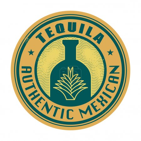 Label or stamp with the text Tequila, Authentic Mexican