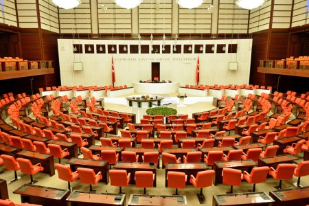 Photo pour Ankara, Turquie - 30 novembre : Parlement turc à l'intérieur le 30 novembre 2013 à ankara, la Grande Assemblée nationale de Turquie (en Turc tbmm) à l'intérieur de l'Assemblée législative turque - image libre de droit