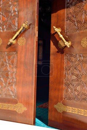 Inlaid wood door ancient history...