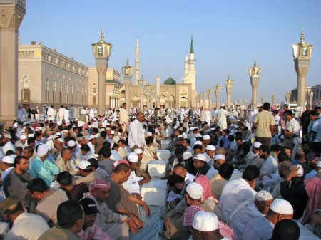 Muslims gathered for worship Nabawi Mosque, Medina, Saudi Arabia
