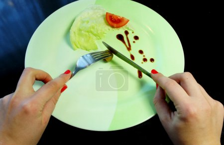 Big plate with a little piece of food and woman hands