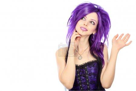 Photo pour Portrait d'une punk. Isolé sur fond blanc . - image libre de droit