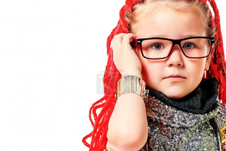 Photo for Portrait of a trendy little girl wearing red braids. Isolated over white. - Royalty Free Image
