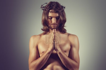 Photo for Jesus Christ is praying. Religion. - Royalty Free Image