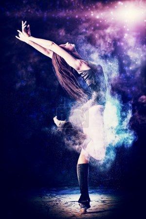 Beautiful expressive bellet dancer dancing at stud...