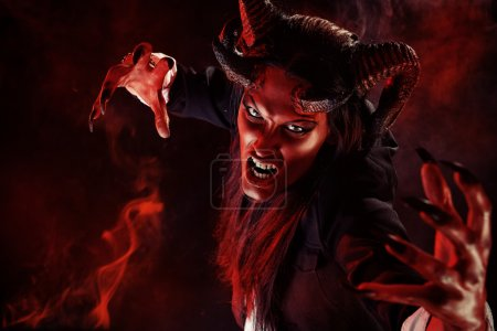 Photo for Portrait of a devil with horns. Fantasy. Art project. - Royalty Free Image