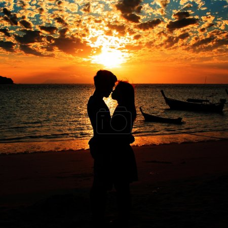 silhouette happiness and romantic scene of love couples partners