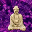 Buddha and psychedelic or trippy purple background...
