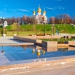 Pure white church on a hill in Yaroslavl...