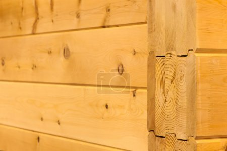 Natural wood wall houses from glued beams