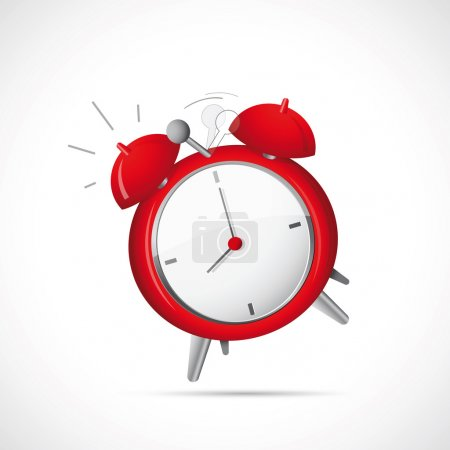 Illustration for Illustration of alarm clock on grey backdrop - Royalty Free Image