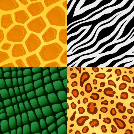 Illustration for Set of four seamless wildlife animal skin pattern - Royalty Free Image