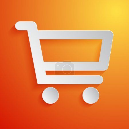 Shopping cart white icon on orange background. Vector illustration