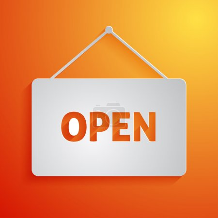 White open sign icon on orange background