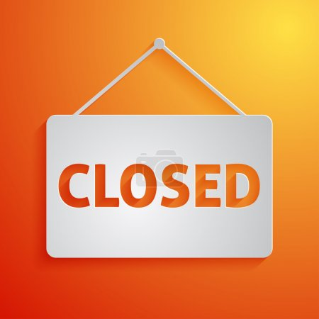 White closed sign vector icon on orange background
