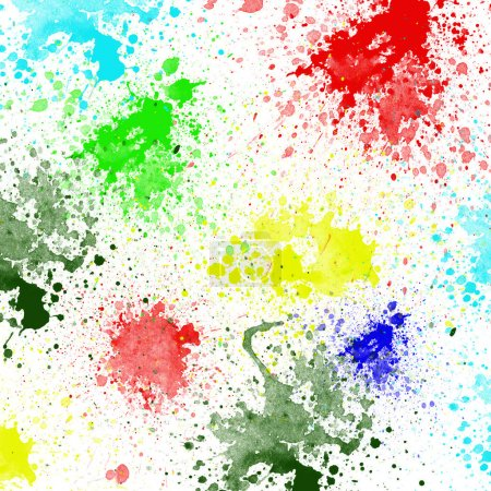 Photo for Splashes of colorful ink on white background.Abstract colorful splash watercolor art hand paint on white background - Royalty Free Image