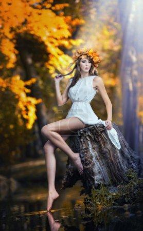 Photo pour Portrait de belle fille dans la forêt. fille avec regard de fée dans le tournage automnal. Fille avec maquillage automnal et style de cheveux. femmes romantiques avec robe blanche courte posant dans le parc automnal - image libre de droit