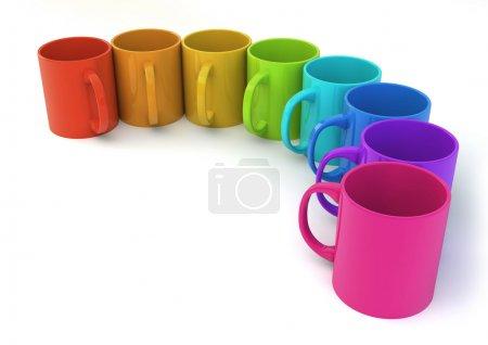 Photo pour Rendu de huit tasses colorées - image libre de droit