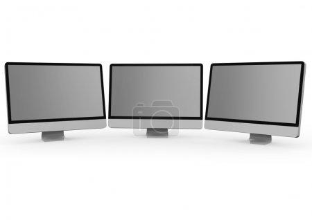 Photo pour Rendre des trois écrans d'ordinateur - image libre de droit