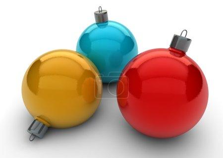 Photo pour Rendu 3D de trois boules de Noël - image libre de droit