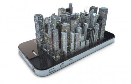 Photo pour Rendu d'un smartphone avec une ville moderne sur l'écran - image libre de droit