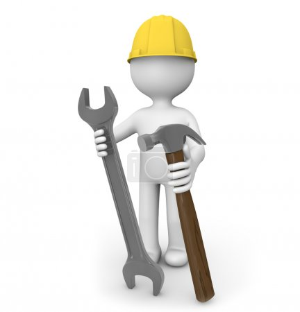 Photo for Render of a man with a wrench and a hammer - Royalty Free Image