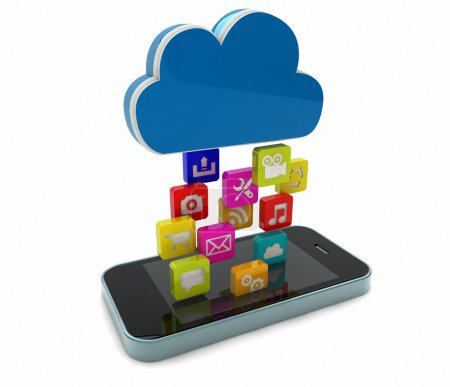 Photo pour Rendu d'un smart phone téléchargement apps - image libre de droit