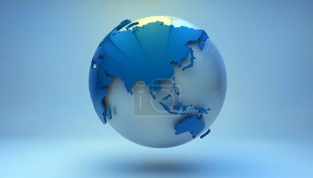 Photo pour Rendu d'un globe terrestre bleu montrant Asie - image libre de droit
