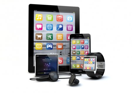 Photo for Render of a group of gadgets: tablet pc, smart phone, smart watch and a media player. - Royalty Free Image