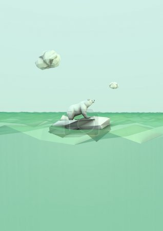 Photo for Render of a polar bear lost on the ocean - Royalty Free Image