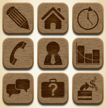 Illustration for Wooden business icons set - Royalty Free Image
