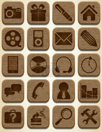 Illustration for Wooden icons set - Royalty Free Image