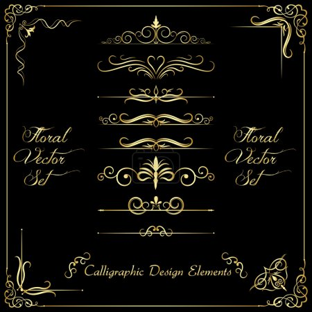 Illustration for Golden calligraphic design elements - Royalty Free Image