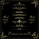 Golden calligraphic design elements...