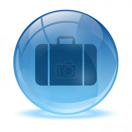 Illustration for Blue abstract 3d business bag icon - Royalty Free Image