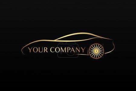 Illustration pour Logo voiture dorée - image libre de droit