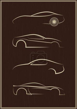 Illustration pour Ensemble de logo de voiture calligraphique - image libre de droit