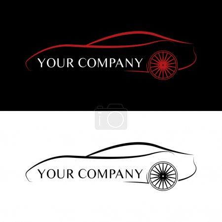 Illustration pour Logos de voiture rouge et noir - image libre de droit