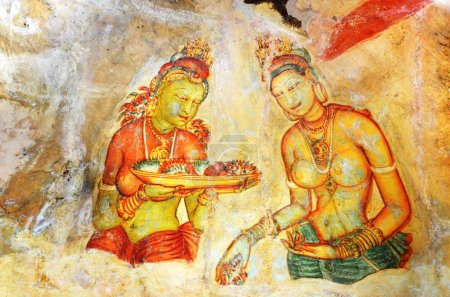 Fresco with two Sigiriya maiden with fruits