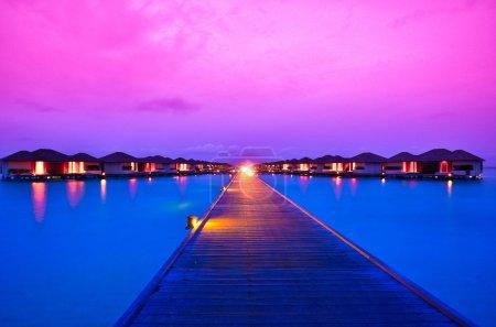 Sunset over island resort