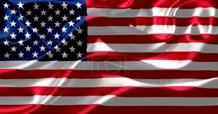 American flag on silk fabric