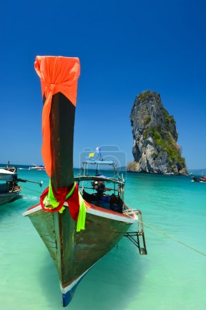Traditional boat in the beach is one of main tourist attraction in Thailand
